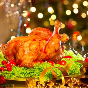 Christmas Dinner On Decorated Table