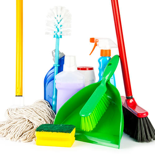 Collection Of Cleaning Equipment On White Background