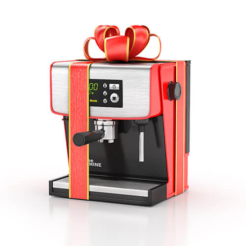 Coffe Machine With Red Ribbon