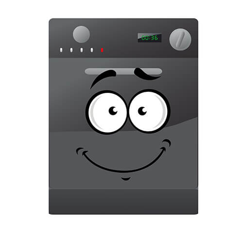 Cartoon Grey Dishwasher With Smiley Face