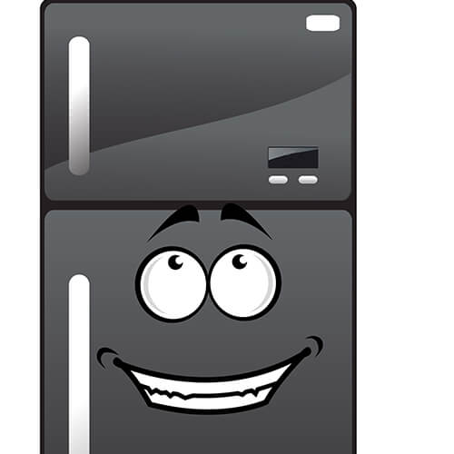 Cartoon Grey Fridge With Smiley Face