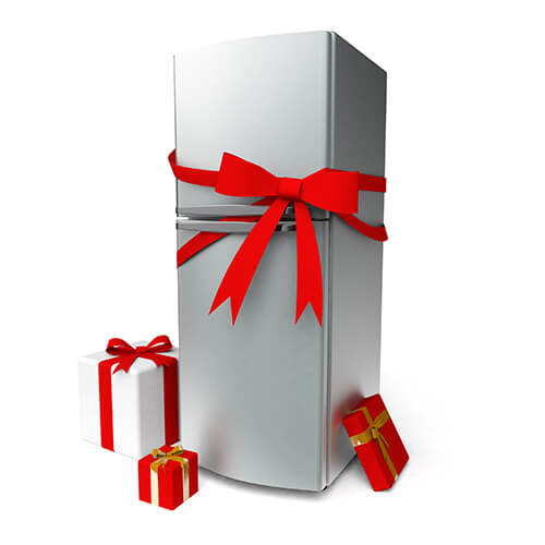 Clean Metal Fridge With Red Bow And Gifts