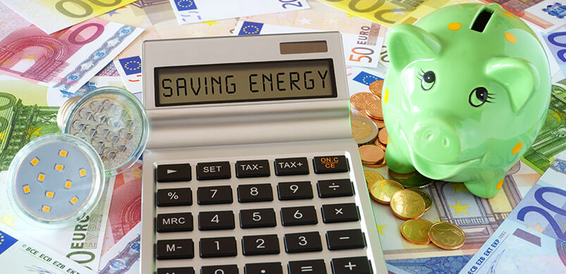 Calculator With Words Saving Energy By Piggy Bank