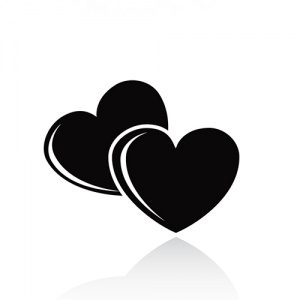 Black and White Hearts Symbol