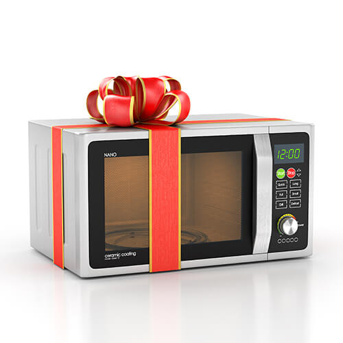 Silver Microwave With Red Ribbon