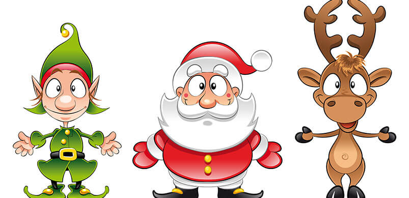 Cartoon Santa, Elf and Reindeer