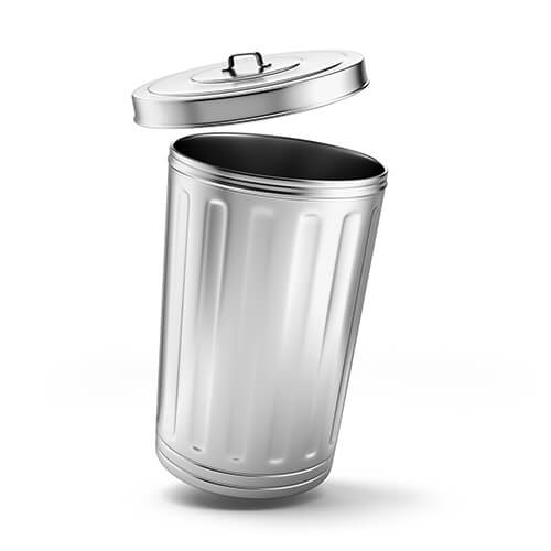 Silver Metal Rubbish Bin With Open Lid