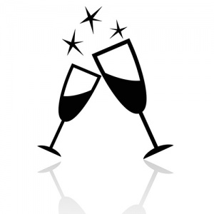 Black and White Image of Two Champagne Glasses Toasting