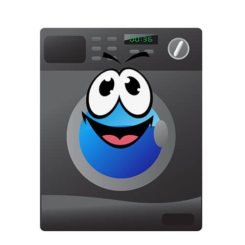 Cartoon Grey Tumble Dryer With Smiley Face