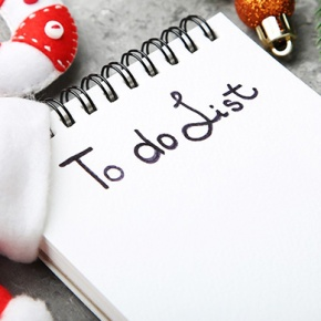 To-Do List With Santa Hat And Decorations