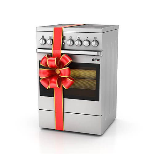 Silver Oven With Red Ribbon