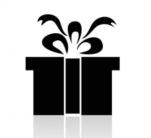 Black And White Present Symbol