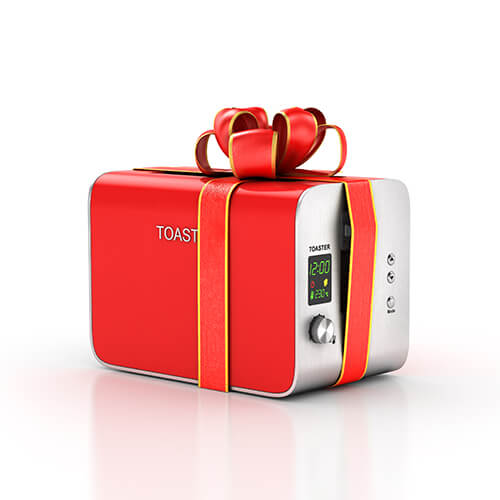 Red And Silver Toaster With Red Ribbon