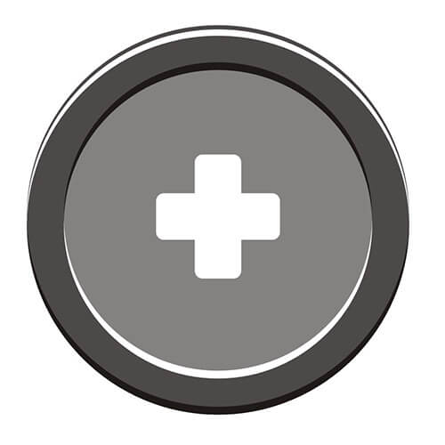 White Cross Symbol On Grey Circle Background