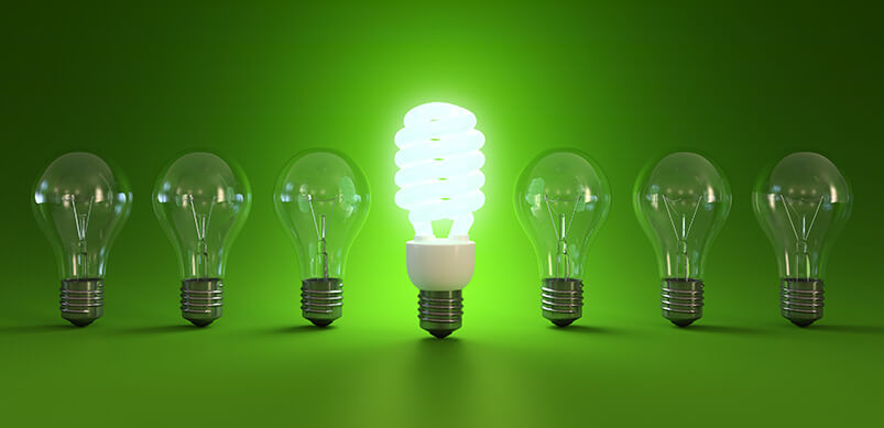Energy Saving Light Bulb Lit Up Around Standard Bulbs