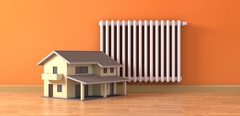 Small House Model Next To Radiator