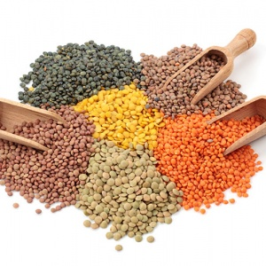 Group Of Different Lentils On Wooden Spoons