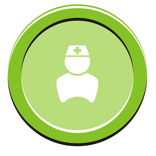 White Symbol Of Nurse On Green Circle Background