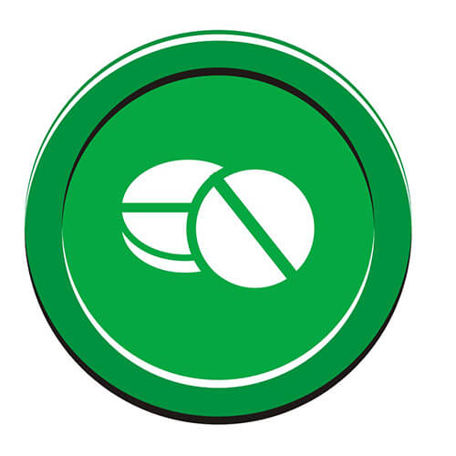 White Painkiller Symbol On Green Circle Background