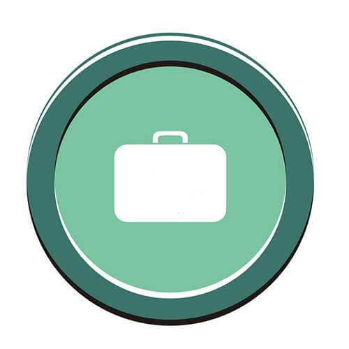 Bag Symbol On Dark Green Circle Background