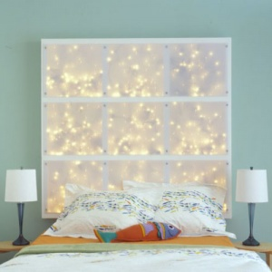 White Framed Headboard Filled With LED Lights