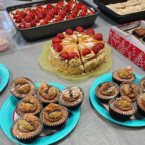 Variety Of Homemade Cakes On Table