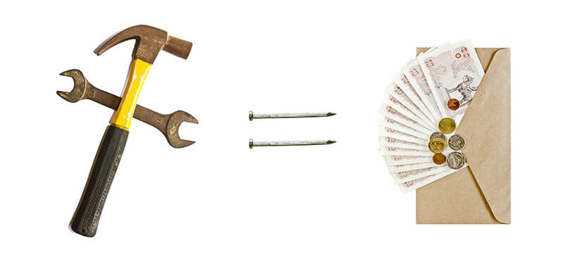 DIY Tools With Equals sign To Envelope Of Money