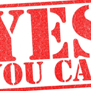 Red YES YOU CAN Rubber Stamp
