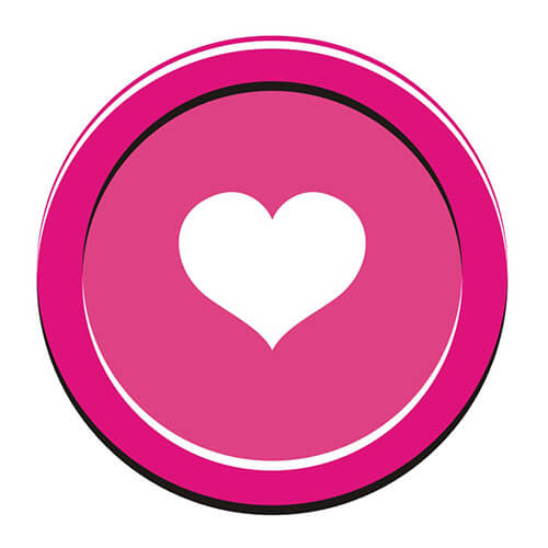 White Heart Symbol On Pink Circle Background