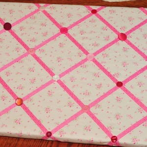 Fabric Memory Board With Pink Ribbon