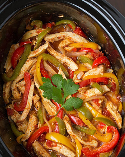Chicken Fajitas Mix Inside Slow Cooker