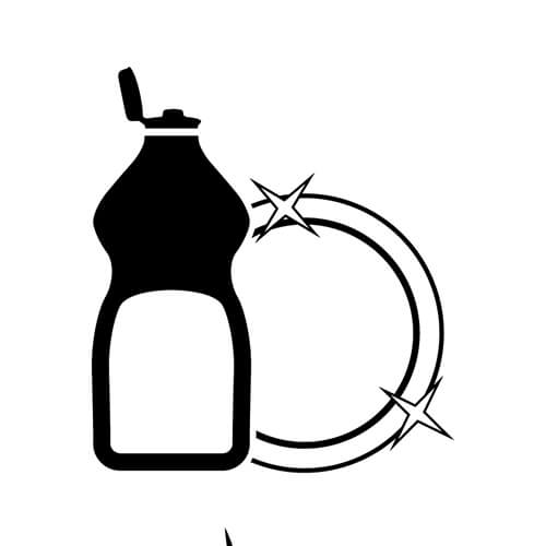 Washing Up Liquid And Clean Plate Symbol