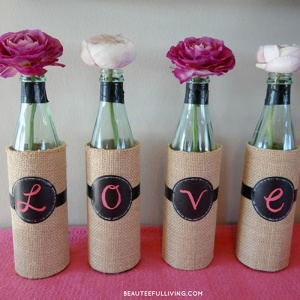 Empty Glass Bottles Covered Spelling Out Love