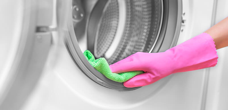 Hand In Rubber Glove Cleaning Tumble Dryer