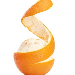 Orange With Peeled Spiral Skin