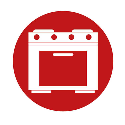 Oven Icon In Red Circle