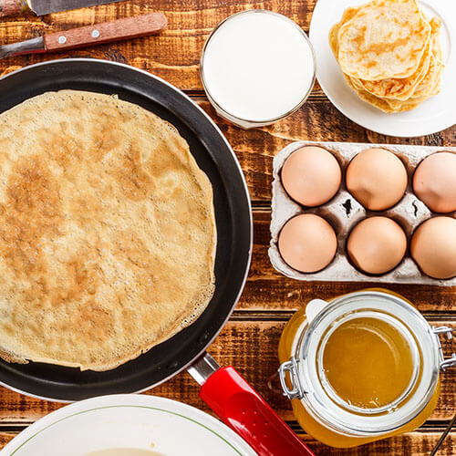 Pancake In Pan With Pancake Ingredients