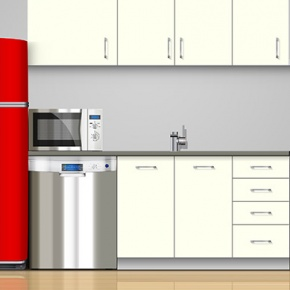 Kitchen Appliances With Red Fridge