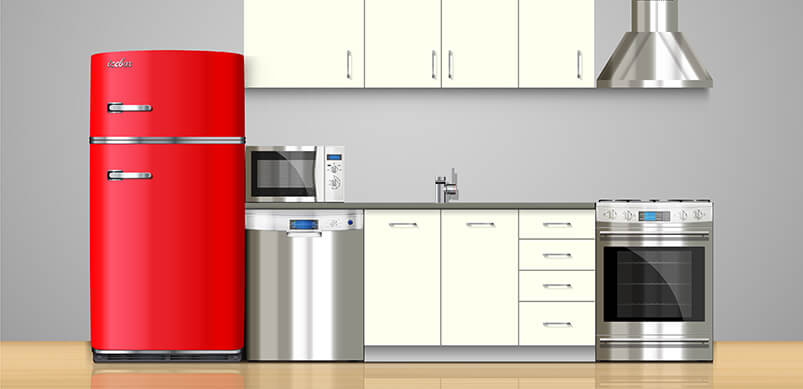 Kitchen Appliances With Red Fridge