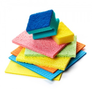 Coloured Cleaning Sponges Piled Up