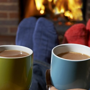 Hot Drinks And Cosy Socks In Front Of Fire