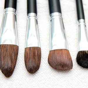 Wet Make-up Brushes On Towel