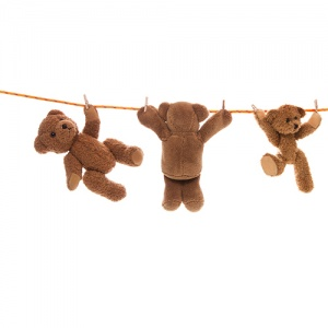 Three Teddy Bears Hanging On Clothing Line
