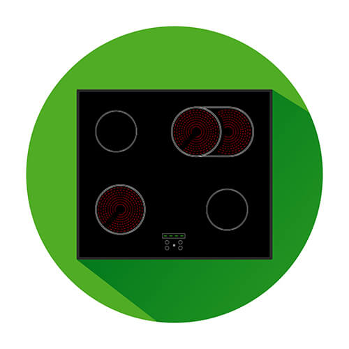 Ceramic Hob Icon In A Green Circle