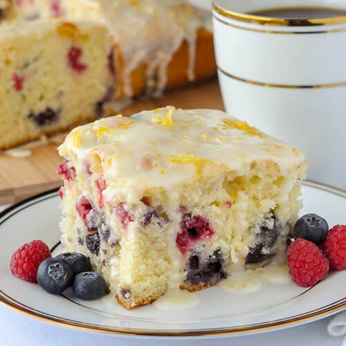 Lemon Drizzle Cake With Raspberries And Blueberries Inside