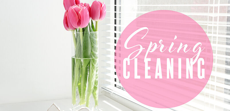Pink Tulips On White Window Sill With Spring Cleaning Sign