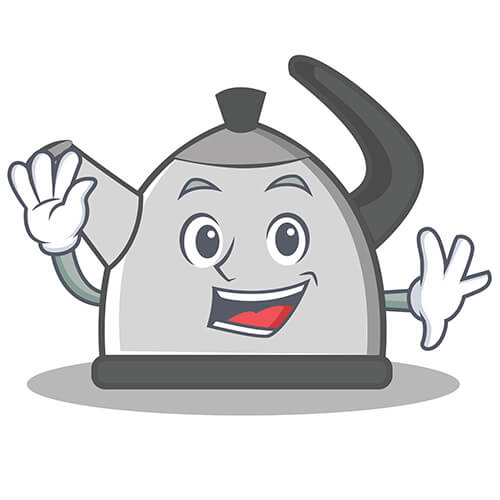 Cartoon Waving Kettle With Smiling Face