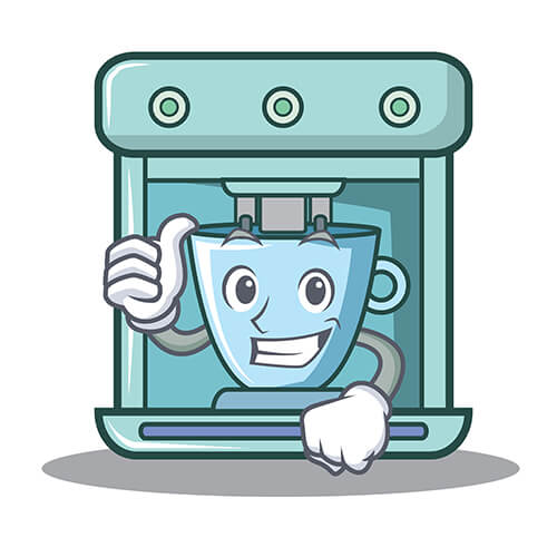 Cartoon Coffee Maker With Thumbs Up