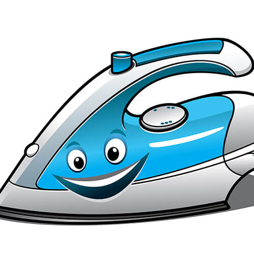 Cheerful Iron With Smiling Face