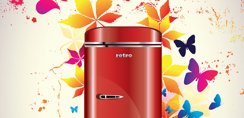 Red Fridge With Colourful Leaves And Butterflies